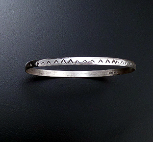 Navajo - Domed & Stamped Smooth Sterling Silver Bangle Bracelet #26798B $30.00