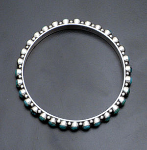 Happy Piasso - Green Turquoise & Sterling Silver Bangle Bracelet #29445_green $495.00