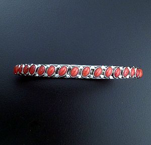 Henry Sam (Navajo) - Thirty Nine Stone Red Coral & Sterling Silver Bangle Bracelet #39966 $425.00