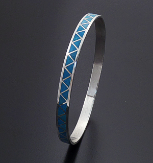 Joann Peina (Zuni) - Turquoise & Sterling Silver Triangular Smooth Inlay Bangle Bracelet #42805 $275.00