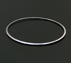 Navajo - Stamped Narrow Sterling Silver Triangle Wire Bangle Bracelet #8024B $30.00