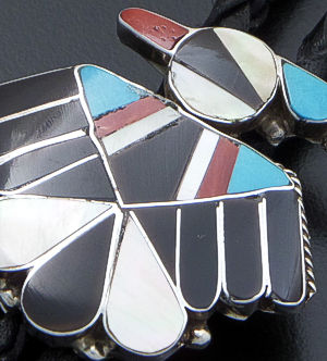 Zuni - Traditional Multistone Inlay & Sterling Silver Thunderbird Bolo Tie #27983 $120.00
