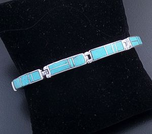 Supersmith Inc. - David Rosales Designs - Arizona Blue Rectangular Inlay & Sterling Silver Link Bracelet #18102 Style BR105 $525.00