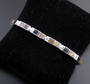 Supersmith Inc. - David Rosales Designs - Native Earth Inlay & Sterling Silver Narrow Rectangular Link Bracelet #22468 Style BR106 $390.00