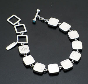 acleoni - Square Turquoise & Sterling Silver Link Bracelet #38783 $475.00