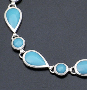 acleoni - Turquoise Round & Teardrop Sterling Silver Link Bracelet #38784 $295.00