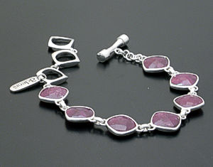 acleoni- Faceted Square Ruby & Sterling Silver Link Bracelet #38808 $360.00
