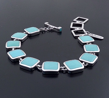 acleoni - Square Turquoise & Sterling Silver Link Bracelet #38954 $475.00