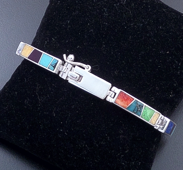 Supersmith Inc. - David Rosales Designs - Indian Summer Inlay & Sterling Silver Rectangular Link Bracelet #39384 Style BR105 $540.00