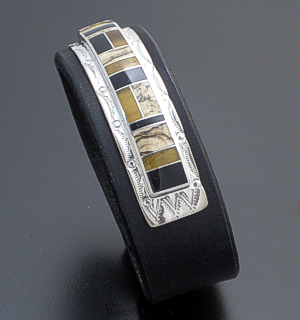 Supersmith Inc. - David Rosales Designs - Native Earth Inlay & Sterling Silver Black Leather Bracelet #39928 BR373 $345.00