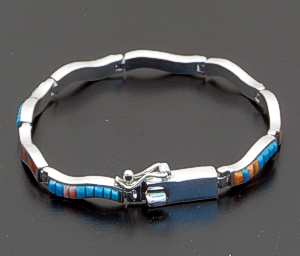 Supersmith Inc. - David Rosales Designs - Turquoise, Coral & Shell Mixed Inlay & Sterling Silver Narrow Wave Link Bracelet #39933 BR102 $465.00