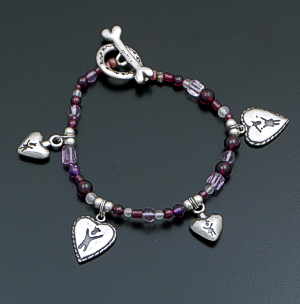 Anni & Co. - Vintage Multistone Bead & Sterling Silver Charm Bracelet #40927 $150.00