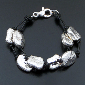 Zina - Riverstone Double Strand Leather & Sterling Silver Bracelet #41523 $390.00