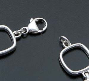 Zina - Open Square & Square Pillow Sterling Silver Link Bracelet #41528 $195.00