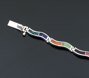 Supersmith Inc. - David Rosales Designs - Indian Summer Inlay & Sterling Silver Narrow Wave Link Bracelet #41626 Item 7 Style BR102 $465.00