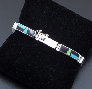 Supersmith Inc. - David Rosales Designs - Twilight Inlay & Sterling Silver Rectangular Link Bracelet #41630 Item 5 Style BR105 $510.00