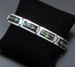 Supersmith Inc. - David Rosales Designs - Twilight Arrow Inlay & Sterling Silver Wide Rectangular Link Bracelet #41630 Item 6 Style BR266M $950.00