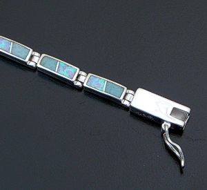 Supersmith Inc. - David Rosales Designs - Amazing Light Inlay & Sterling Silver Narrow Rectangle Link Bracelet #41631 Item 2 Style BR106 $420.00