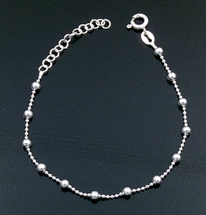 Italian - Bead Accented Sterling Silver Beaded Chain Bracelet #41871 20.00