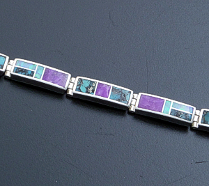 Supersmith Inc. - David Rosales Designs - Shalako Inlay & Sterling Silver Rectangular Link Bracelet #4187 Style BR105 $510.00