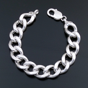 Italian - Large Hollow Beveled Sterling Silver Curb Chain Bracelet #43062 $135.00