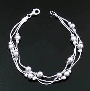 Three Strand Multiple Bead Smooth Sterling Silver Snake Chain Bracelet #43273 $75.00