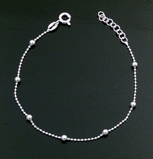 Italian - Bead Accented Sterling Silver Beaded Chain Bracelet #43294 $20.00