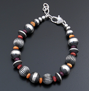 Marilyn Platero (Navajo) - Multistone & Mixed Large Burnished Sterling Silver Bead Bracelet #43323 $120.00