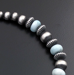 Marilyn Platero (Navajo) - Graduated Larimar & Mixed Burnished Sterling Silver Bead Bracelet #43324 $150.00