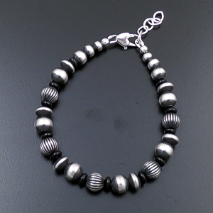 Marilyn Platero (Navajo) - Black Onyx & Mixed Burnished Sterling Silver Bead Bracelet #43326 $120.00