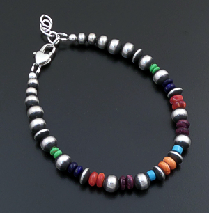Marilyn Platero (Navajo) - Mixed Multistone & Mixed Burnished Sterling Silver Bead Bracelet #43331 $110.00