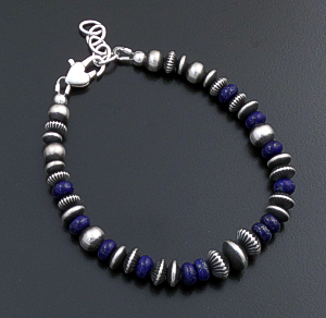 Marilyn Platero (Navajo) - Graduated Lapis & Mixed Burnished Sterling Silver Bead Bracelet #43332 $135.00