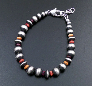 Marilyn Platero (Navajo) - Multistone & Mixed Burnished Sterling Silver Bead Bracelet #43333 $90.00