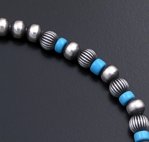 Marilyn Platero (Navajo) - Blue Turquoise & Mixed Burnished Sterling Silver Bead Bracelet #43335 $90.00