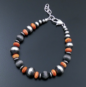 Marilyn Platero (Navajo) - Orange Shell & Mixed Large Burnished Sterling Silver Bead Bracelet #43338 $135.00
