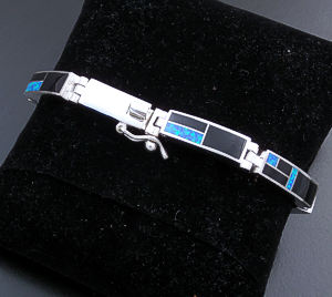 Supersmith Inc. - David Rosales Designs (Navajo) - Black Beauty Inlay & Sterling Silver Rectangle Link Bracelet #43373 BR105 $425.00
