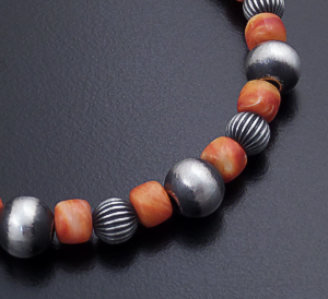 Marilyn Platero (Navajo) - Orange Shell & Mixed Burnished Sterling Silver Bead Bracelet #43835 $95.00