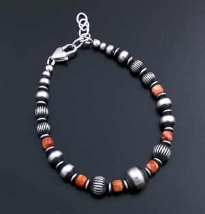 Marilyn Platero (Navajo) - Orange Shell & Mixed Burnished Sterling Silver Bead Bracelet #43836 $125.00