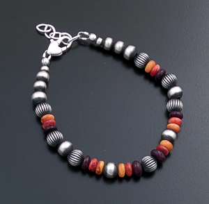 Marilyn Platero (Navajo) - Orange, Red, & Purple Shell  Mixed Burnished Sterling Silver Bead Bracelet #43837 $125.00