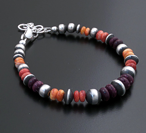 Marilyn Platero (Navajo) - Orange, Red, & Purple Shell  Mixed Burnished Sterling Silver Bead Bracelet #43838 $120.00