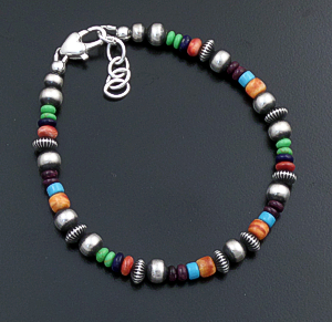 Marilyn Platero (Navajo) - Mixed Multistone & Mixed Burnished Sterling Silver Bead Bracelet #43840 $110.00