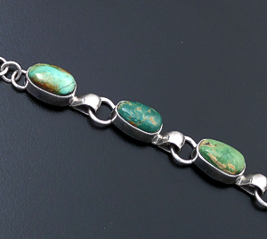 Navajo - Six Stone Oval Royston Turquoise & Sterling Silver Link Bracelet #43951 $325.00