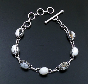 Navajo - Oval Link White Buffalo Turquoise & Sterling Silver Bracelet #43952 $250.00