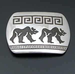 Rosco Scott (Navajo) - Double Walking Bear Sterling Silver Rectangular Belt Buckle #41455 $225.00