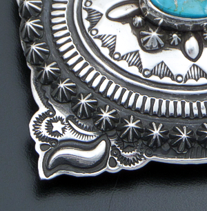 Darryl Becenti (Navajo) - Pilot Mountain Turquoise & Sterling Silver Stamped & Button Accented Belt Buckle #41724 $600.00