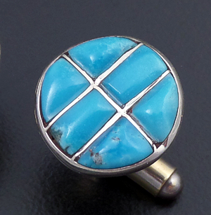 Lily Milani (Zuni) - Round Turquoise & Sterling Silver Channel Inlay Cuff Links #32833 $70.00
