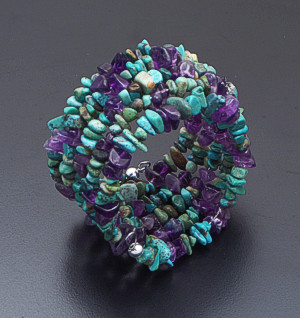 Castle Gap Designs - Turquoise, Amethyst, & Sterling Silver Five Row Coil Bracelet #41790 $50.00