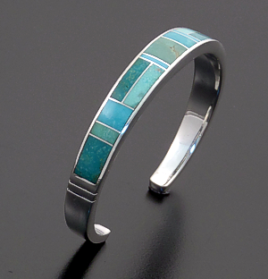 Supersmith Inc. - David Rosales Designs - Turquoise Valley Narrow Rounded Inlay & Stelring Silver Cuff Bracelet #10171  Style BR234 $370.00