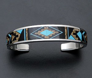 Supersmith Inc. - David Rosales Designs - Turquoise Creek Fancy Tapered Sterling Silver Cuff Bracelet #106 Style BR120M $800.00