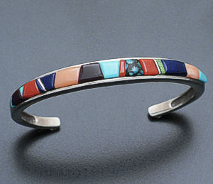 Supersmith Inc. - David Rosales Designs - Albuquerque Narrow Cobble Inlay Sterling Silver Cuff Bracelet #21410 Style BR233C $390.00